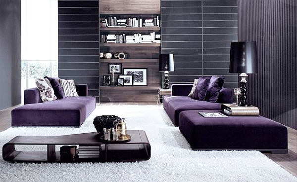 Modern-living-room-in-Royal-purple-with-low-profile-furniture