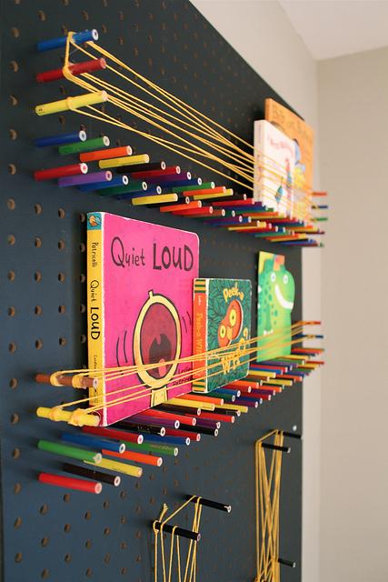 pegboard book shelf diy