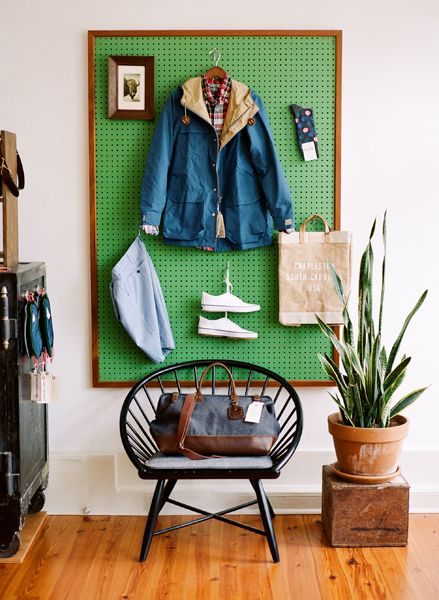 Pegboard Green framed organized