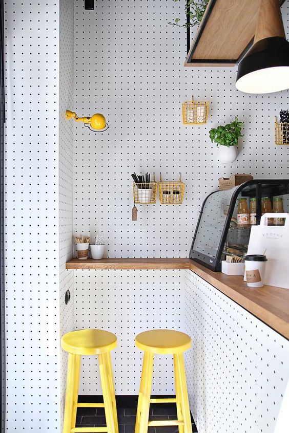 white pegboard kitchen