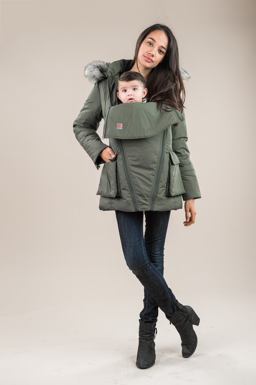 m coat - holding baby